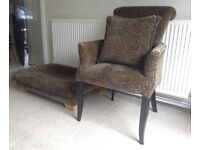 DFS Armchair with matching footstool and 2 cushions