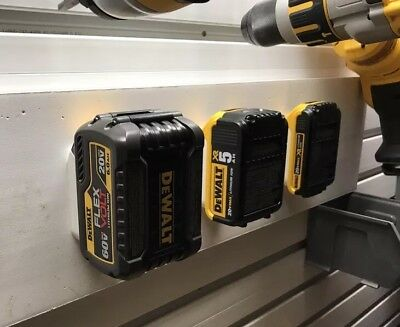 4X DeWALT 20V/60V BATTERY MOUNTS - Works on Shelves, Walls, Toolboxes and more