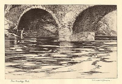 The Bridge Pool, SUPERB Norman Wilkinson fishing print 1930s, ready mounted
