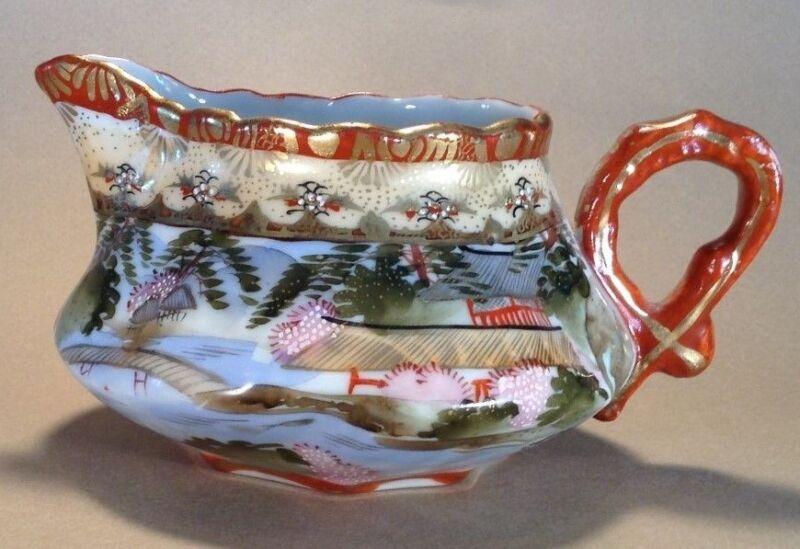 Nippon Kutani Creamer Pitcher - Hand Painted Red And Gold With Moriage - Japan