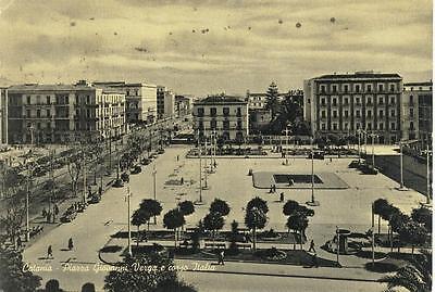 CATANIA PIAZZA VERGA E CORSO ITALIA VIAGGIATA 1959