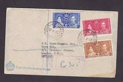 Bechuanaland 1937 registered FDC 1st day cover England KGVI Coronation Mafeking