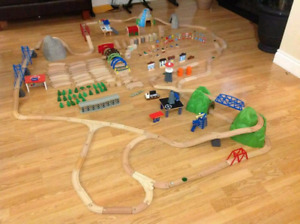 Wooden train tracks, trains and more