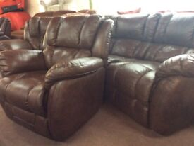 Laz-z-boy leather large sofa and armchair ex display sofa set