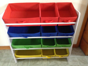 Colored cubby shelf