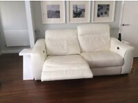 White leather recliner double sofa