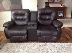 Power dual leather recliner chair