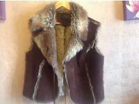 Ladies suede fur vest jacket blends size 18 new