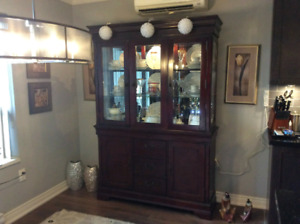 Mint condition cherry wood China cabinet 400 obo