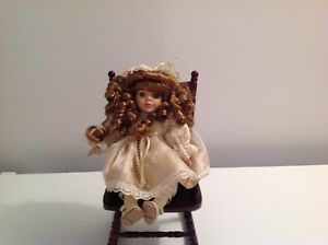 MUSICAL DOLL with WOODEN ROCKING CHAIR
