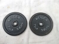 2 x 7.5lb (3.4kg) Weider Standard Cast Iron Weights