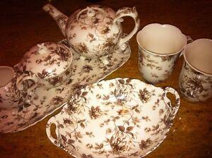 Brown Tea Set Bowl Tray Detailed Leaves Leaf Design Kitchen Room