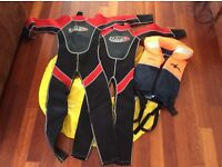2 junior wet suits, junior life vest & rubber ring. Hardly used. Excellent condition.