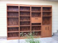 4 MID-CENTURY Entertainment/ Wall Unit SHELVES with Desk/Bar