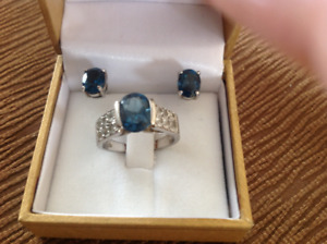 Genuine London blue and white topaz ring size 7 and earring set