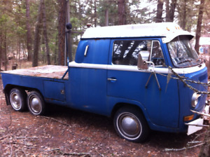 NEW PRICE!! Unique VW Bus, tandem axle, crew cab, flat deck