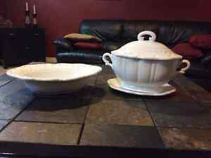 Elegant White serving Bowl, plate and Soup Tureen