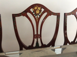 Set of 8 hand painted Hepplewhite dining chairs