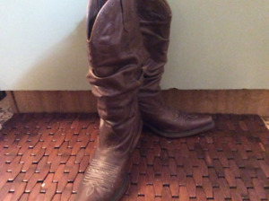 Brown soft Leather Cowboy Boots, women's  size 7