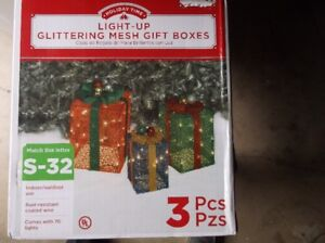 3 Piece Light-Up Glittering Mesh Gift Boxes