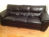 3 + 2 Leather Sofas in Dark Chocolate