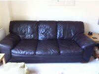 3 seater brown leather sofa £50 ono
