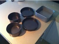Collection of cake tins baking kitchen