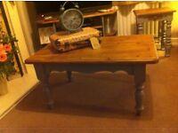 Chunky pine shabby chic coffee table