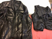 women's XL black leather winter jacket removable lining
