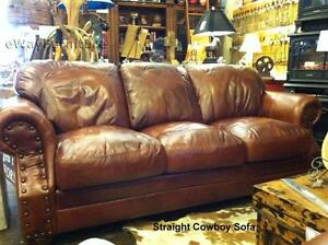 Made In The USA 100 Top Grain Two Toned Leather Sofa Living Room Furniture
