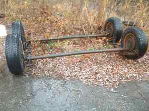 Tandem trailer axles with tires and brakes 3500 lb.