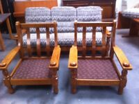 Three solid wooden framed sofas : FREE GLASGOW DELIVERY