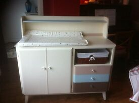 Baby changing station / table , cupboard drawers hand painted