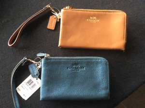 Coach double zip wristlets, brand new