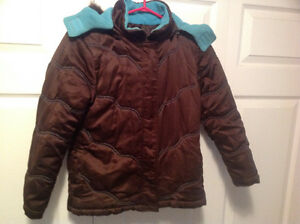 Girls size 10/12 brown/blue coat $10