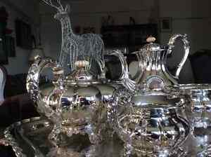 Beautiful silver service tray with tea, coffee, sugar and cream West Island Greater Montréal image 2