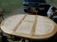 ceramic top table with 4 hardwood chairs