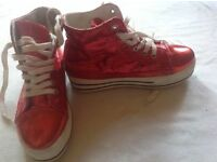 Ladies red trainers size 6/39 used £3