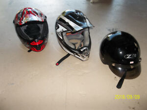 3 Helmets for sale