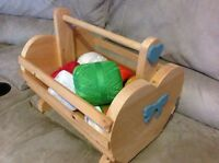 Wooden basket with crochet material