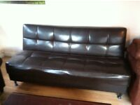 BROWN LEATHER 3 SEATER SOFA BED