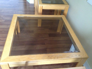 Solid oak matching coffee tables