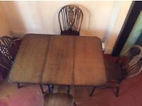Antique drop leaf dining table and 4 chairs