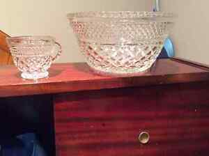 Depression Glass Punch Bowl w/ 18 cups