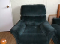 TEAL BLUE RECLINER COUCH AND CHAIR