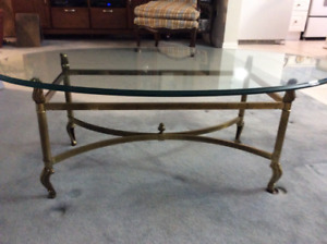 La Barge original solid brass and glass coffee table