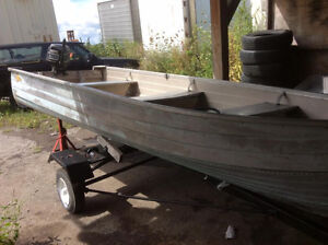 14 ft tin boat motor and trailer