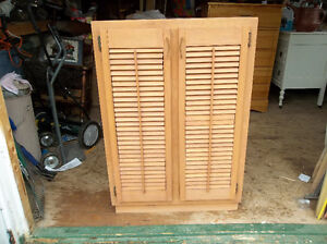 Solid wood cabinet perfect for garage, cottage etc...