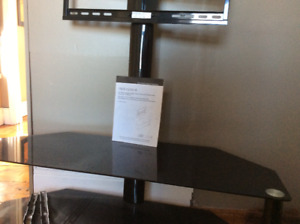 """44"""" black metal and glass open frame Entertainment Centre and TV"""