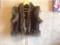 Ladies fur suede Denim_co waistcoat jacket size £14 new